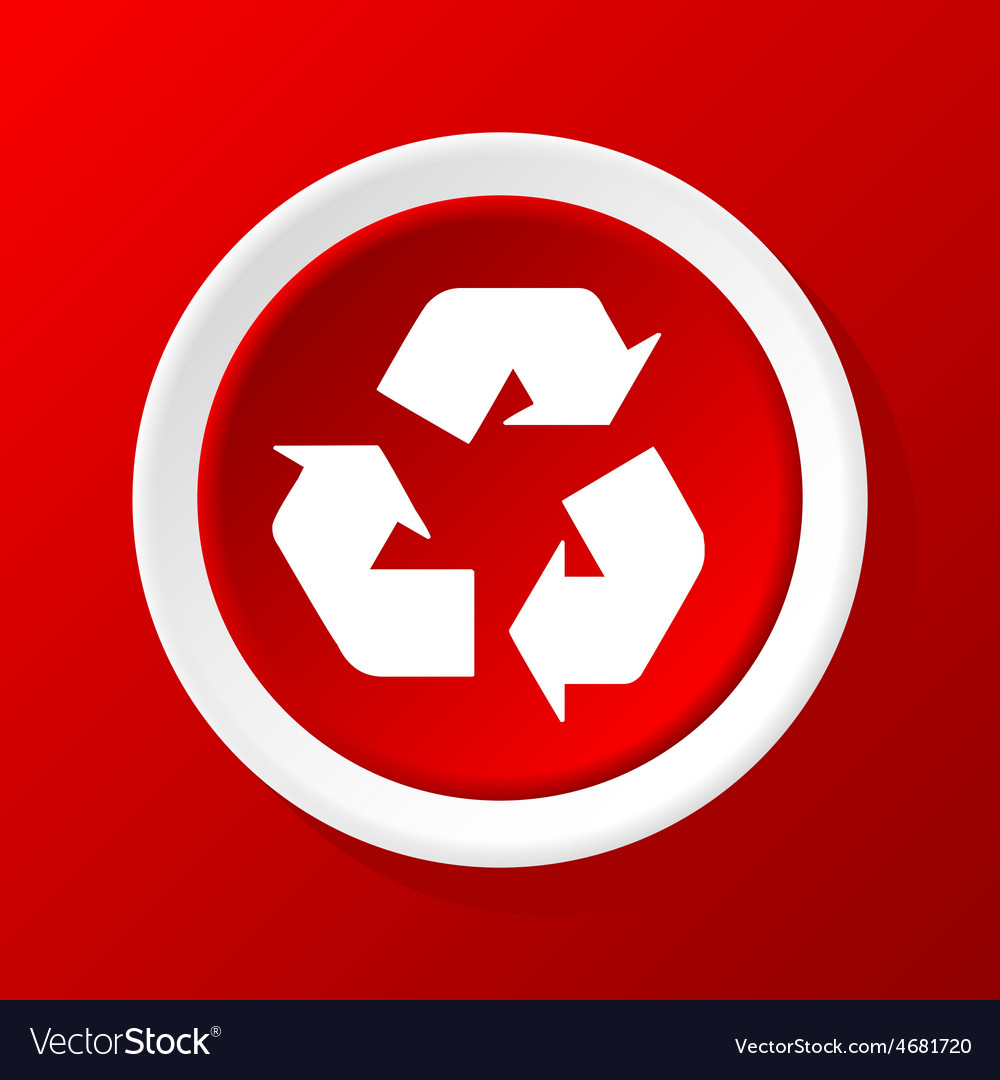 Recycle icon on red vector | Price: 1 Credit (USD $1)