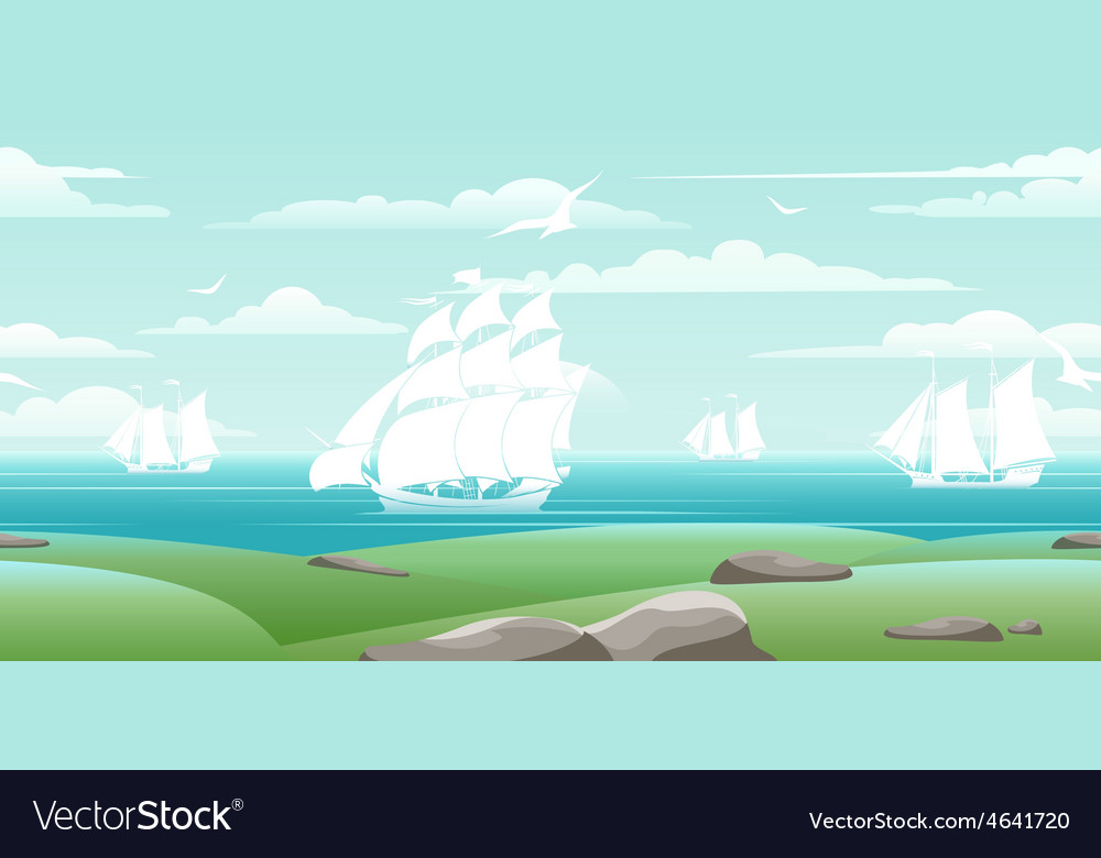 Sea landscape with ships vector | Price: 1 Credit (USD $1)