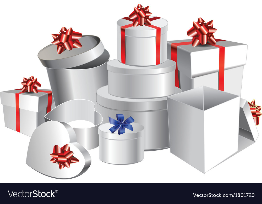 Set of colorful gift boxes with bows and ribbons vector | Price: 1 Credit (USD $1)