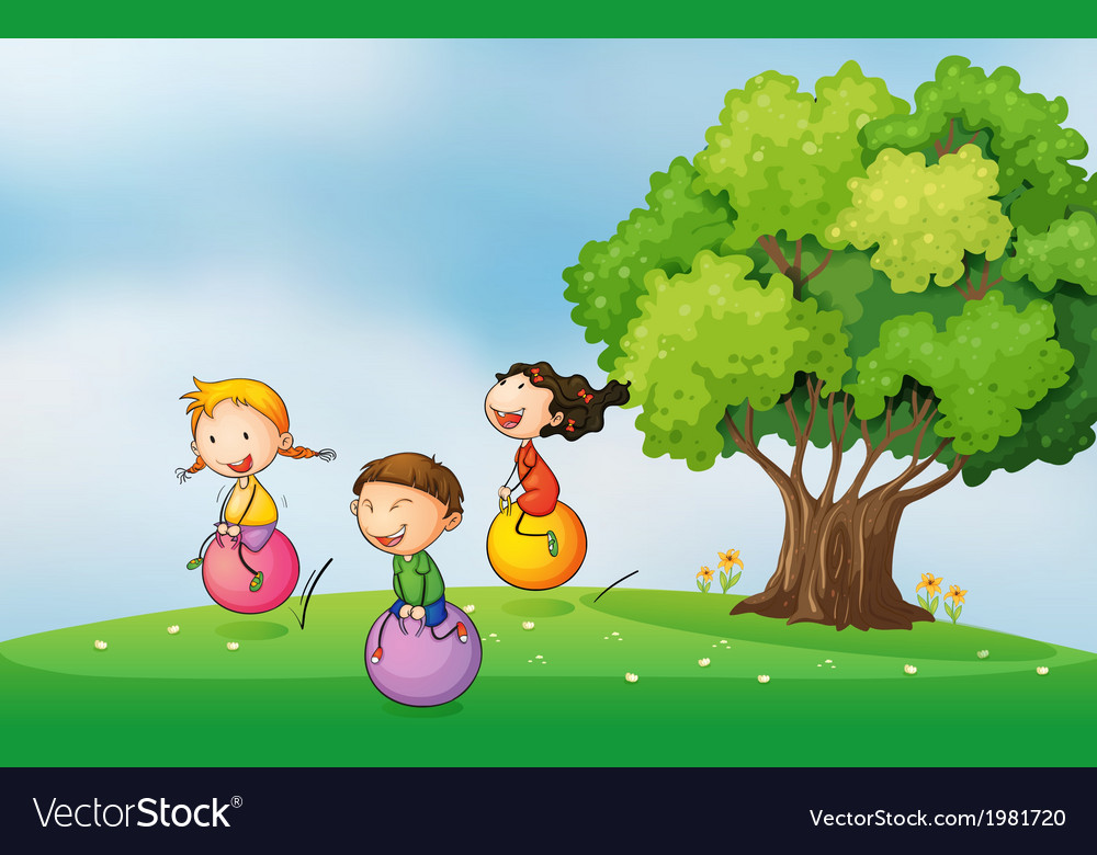 Three kids at the hilltop playing with the vector | Price: 1 Credit (USD $1)