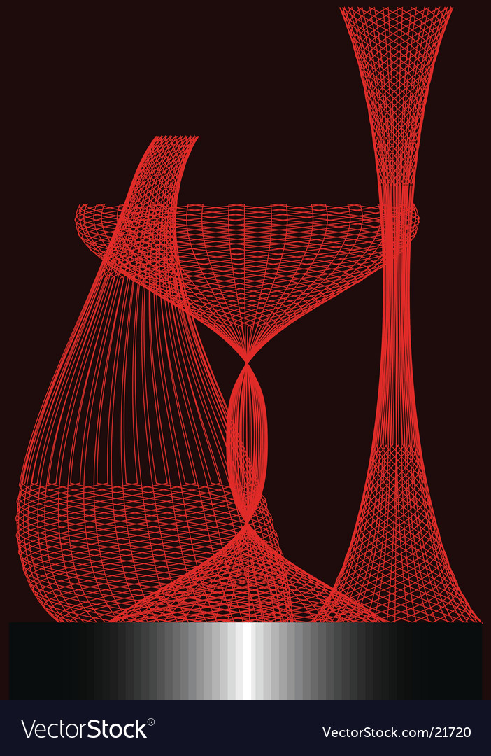 Three red exotic vases vector | Price: 1 Credit (USD $1)