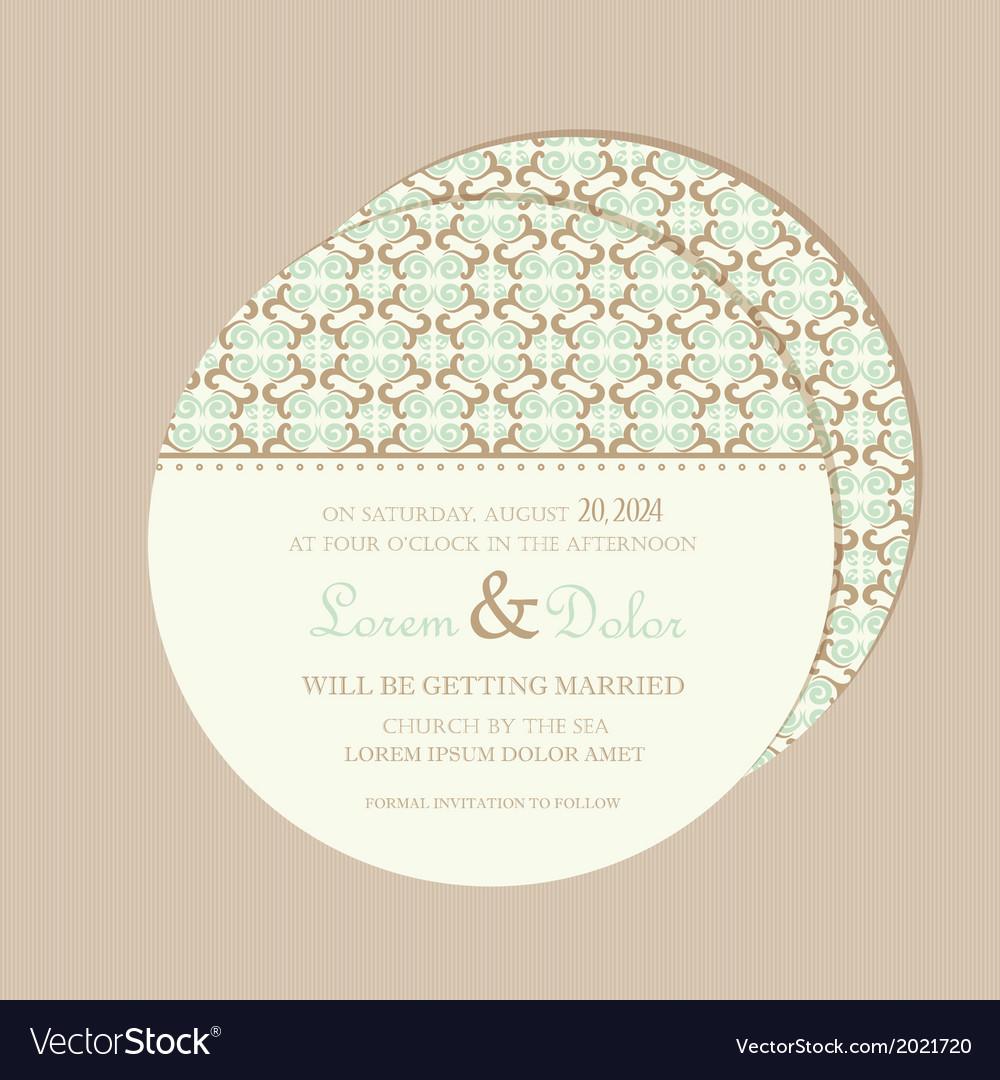 Wedding invitation card round vector   Price: 1 Credit (USD $1)