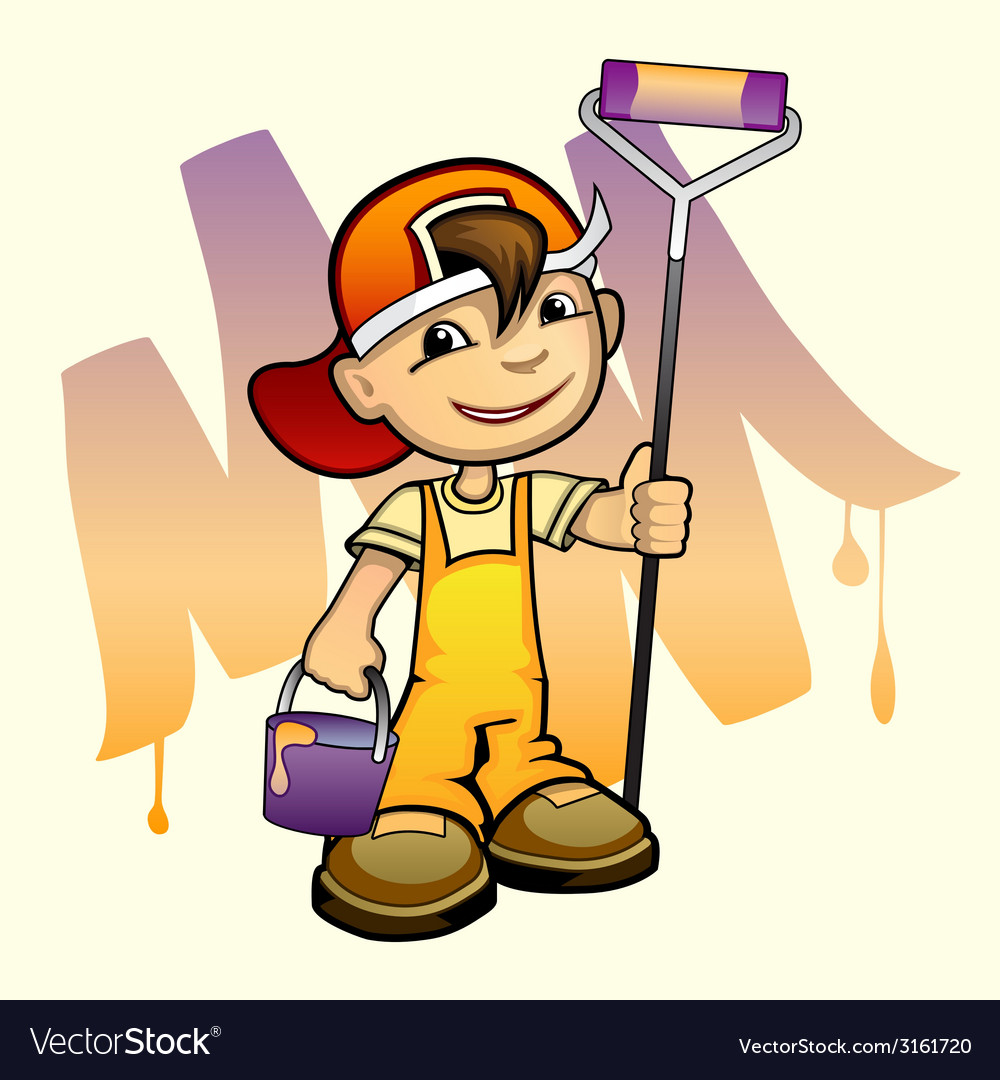 Young painter with roller vector   Price: 1 Credit (USD $1)