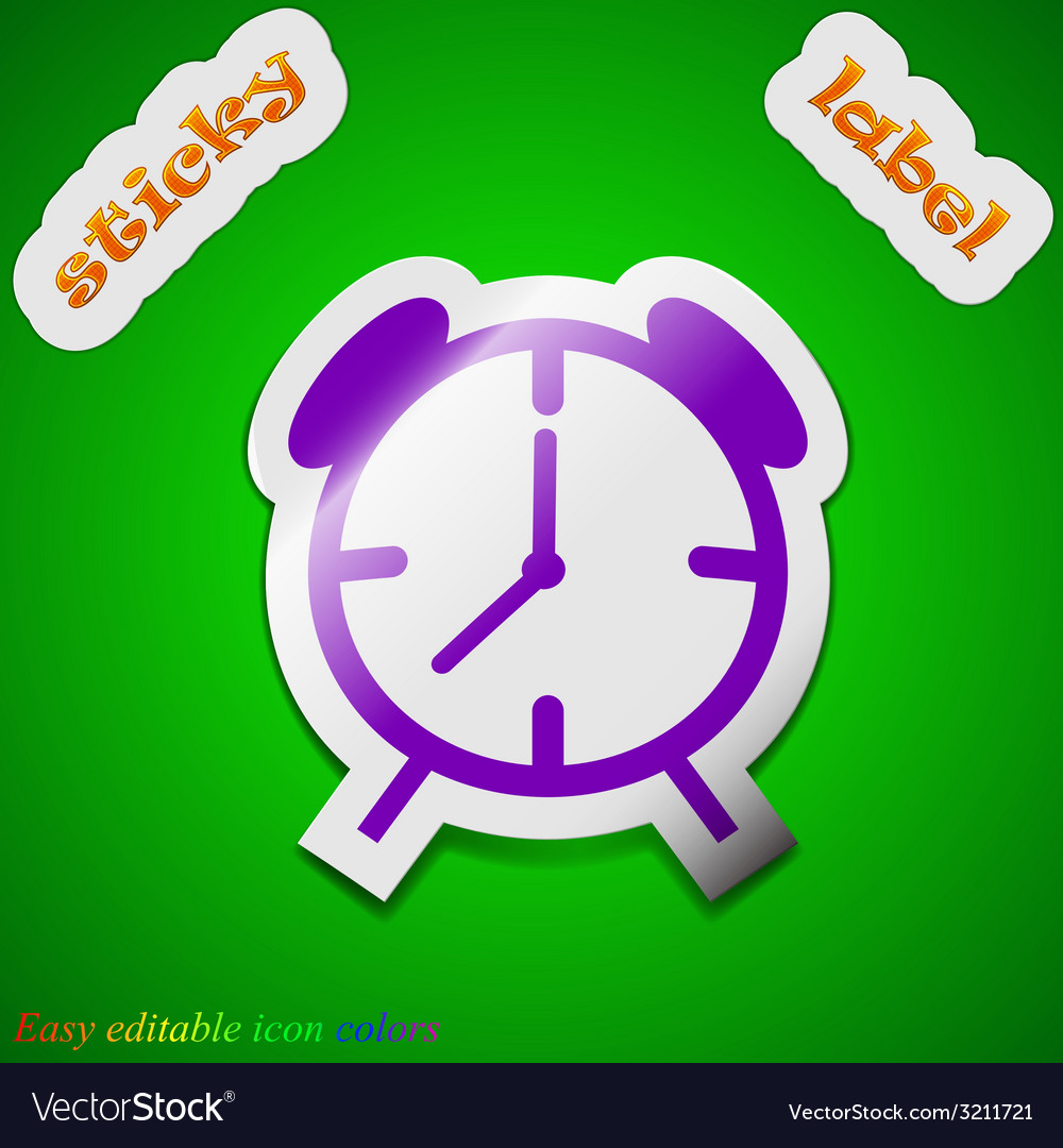 Alarm clock icon sign symbol chic colored sticky vector | Price: 1 Credit (USD $1)