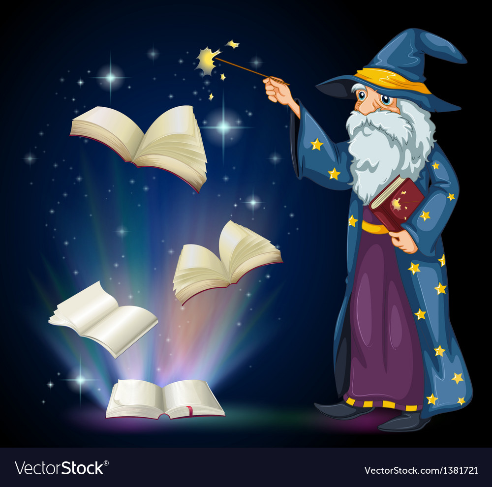 An old wizard holding a book and a wand vector | Price: 1 Credit (USD $1)