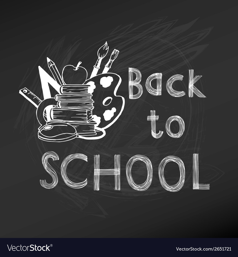 Back to school chalkboard - hand-drawn vector | Price: 1 Credit (USD $1)
