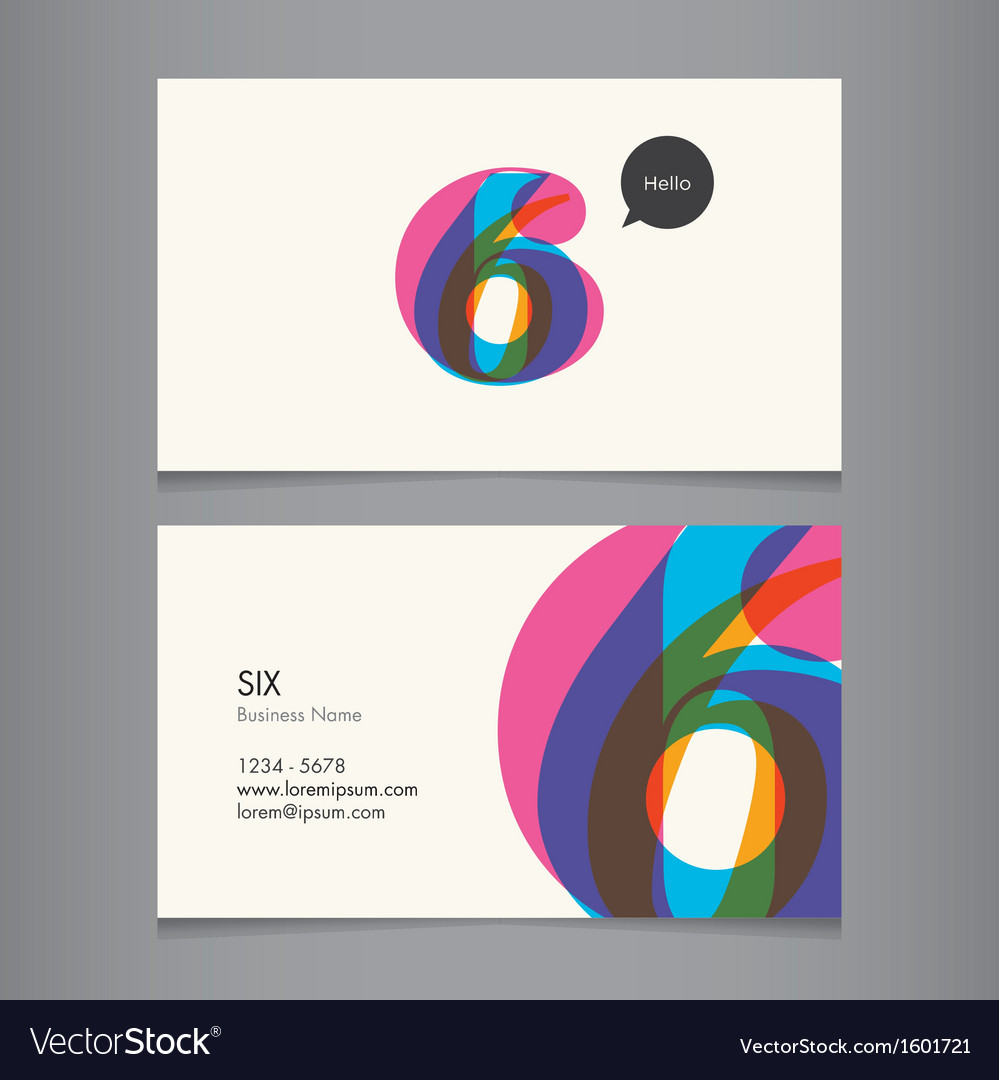 Business card with number 6 vector | Price: 1 Credit (USD $1)