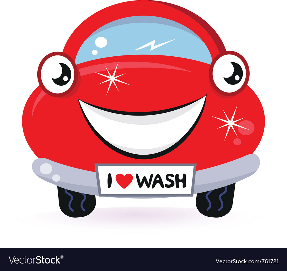 Cute red car wash vector | Price: 1 Credit (USD $1)