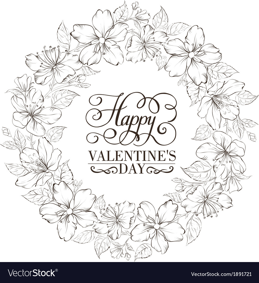 Floral wreath - valentine design vector | Price: 1 Credit (USD $1)