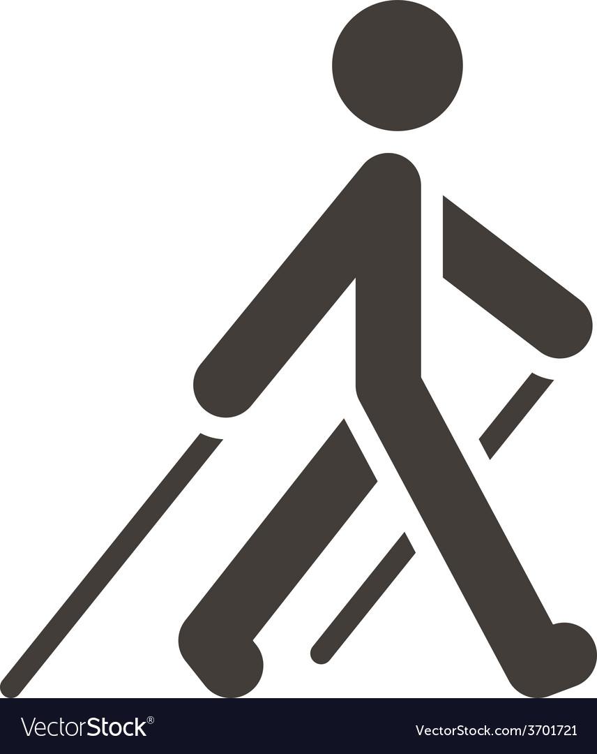 Nordic walking icon vector