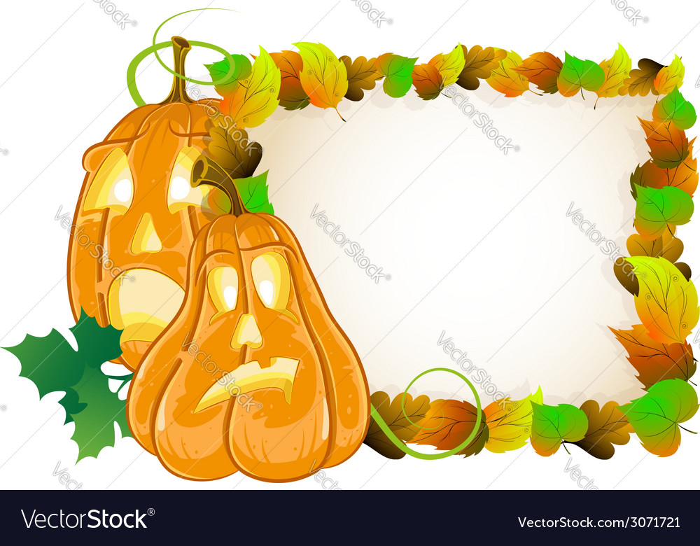 Pumpkin head and leaves vector | Price: 1 Credit (USD $1)
