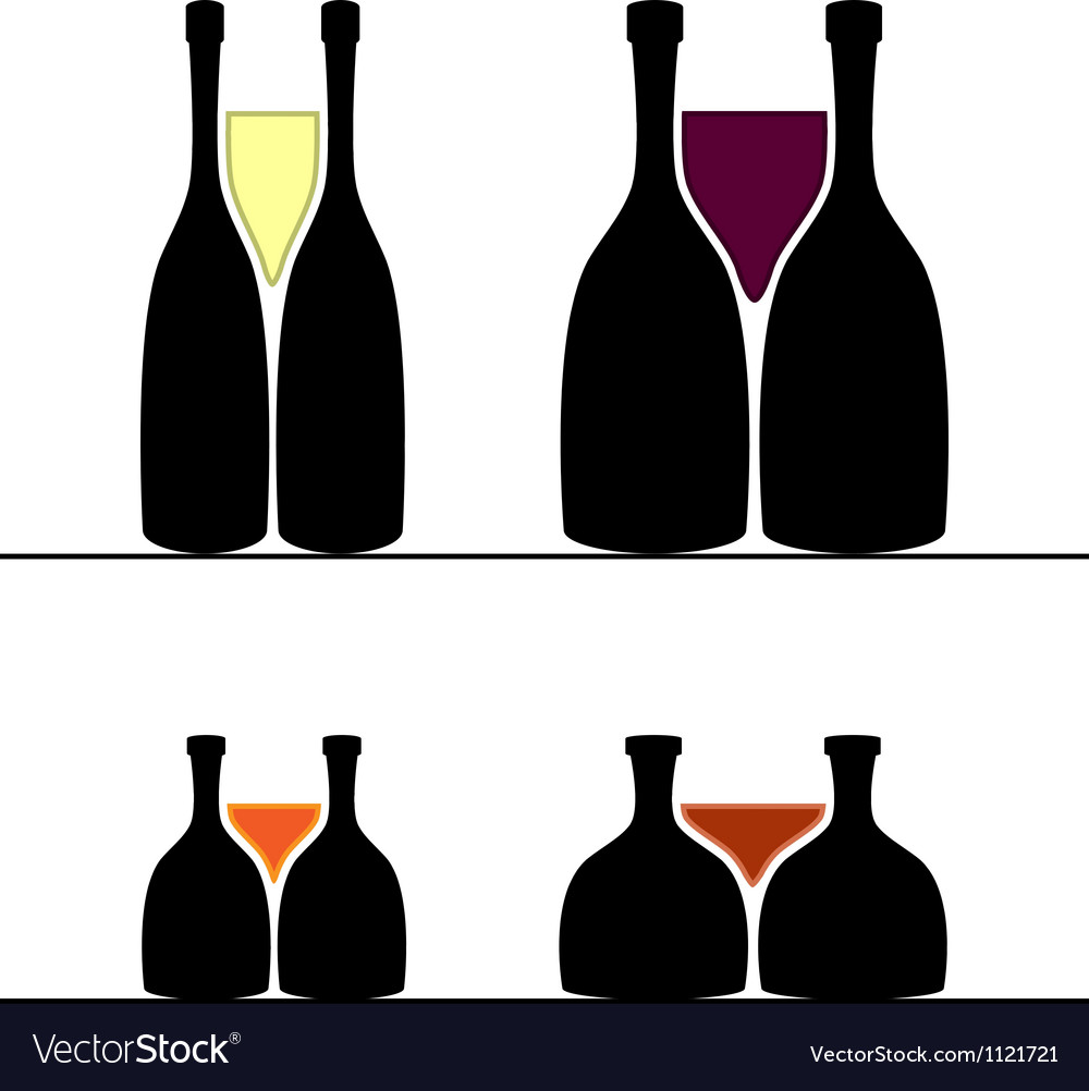 Set of alcohol bottles and glasses vector | Price: 1 Credit (USD $1)