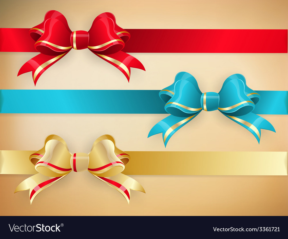 Set of gift bows with ribbons eps 10 vector | Price: 1 Credit (USD $1)