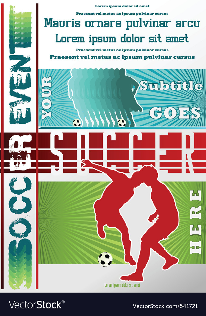 Sport event poster soccer vector | Price: 1 Credit (USD $1)