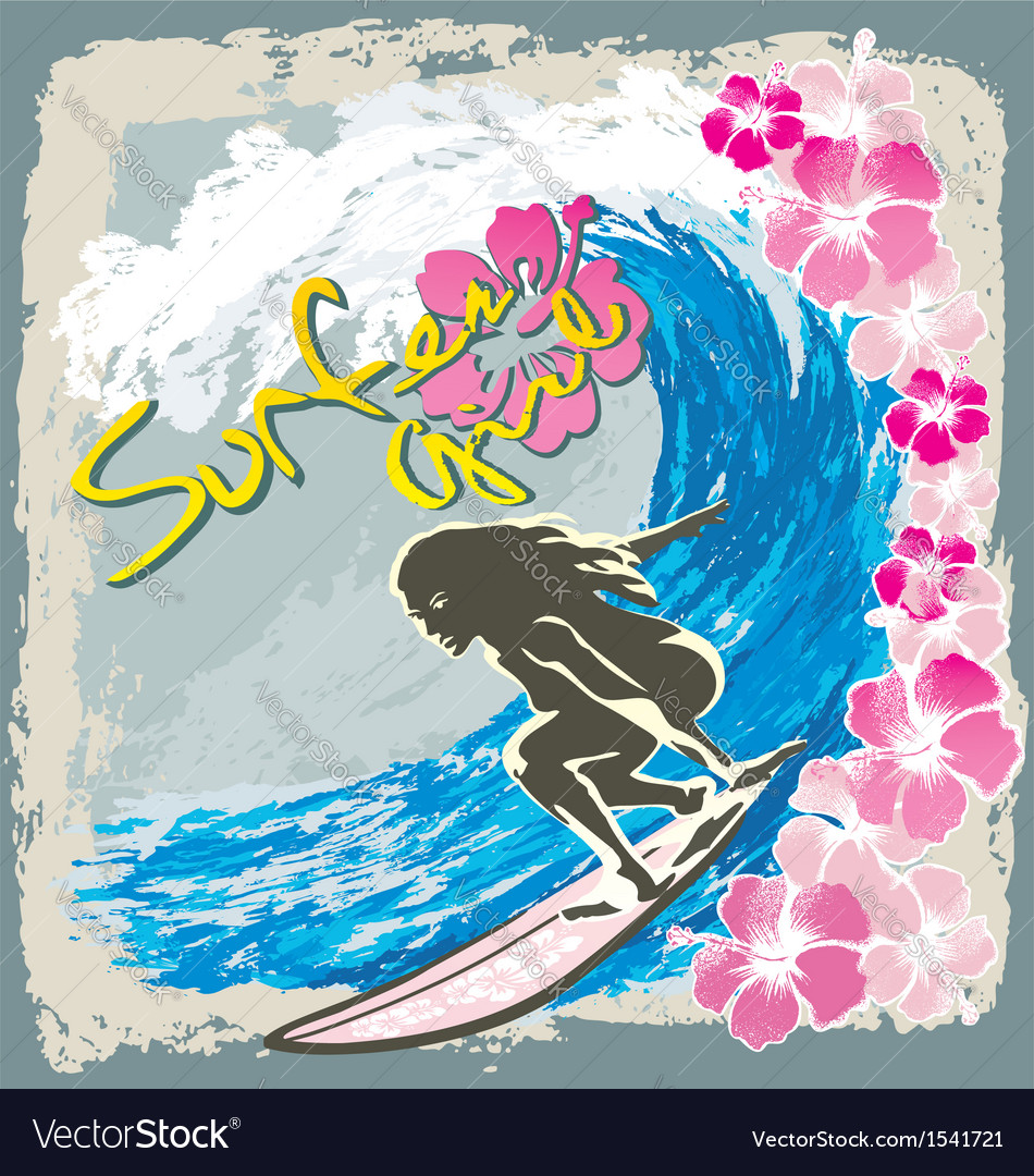 Surfer girl spirit vector | Price: 3 Credit (USD $3)
