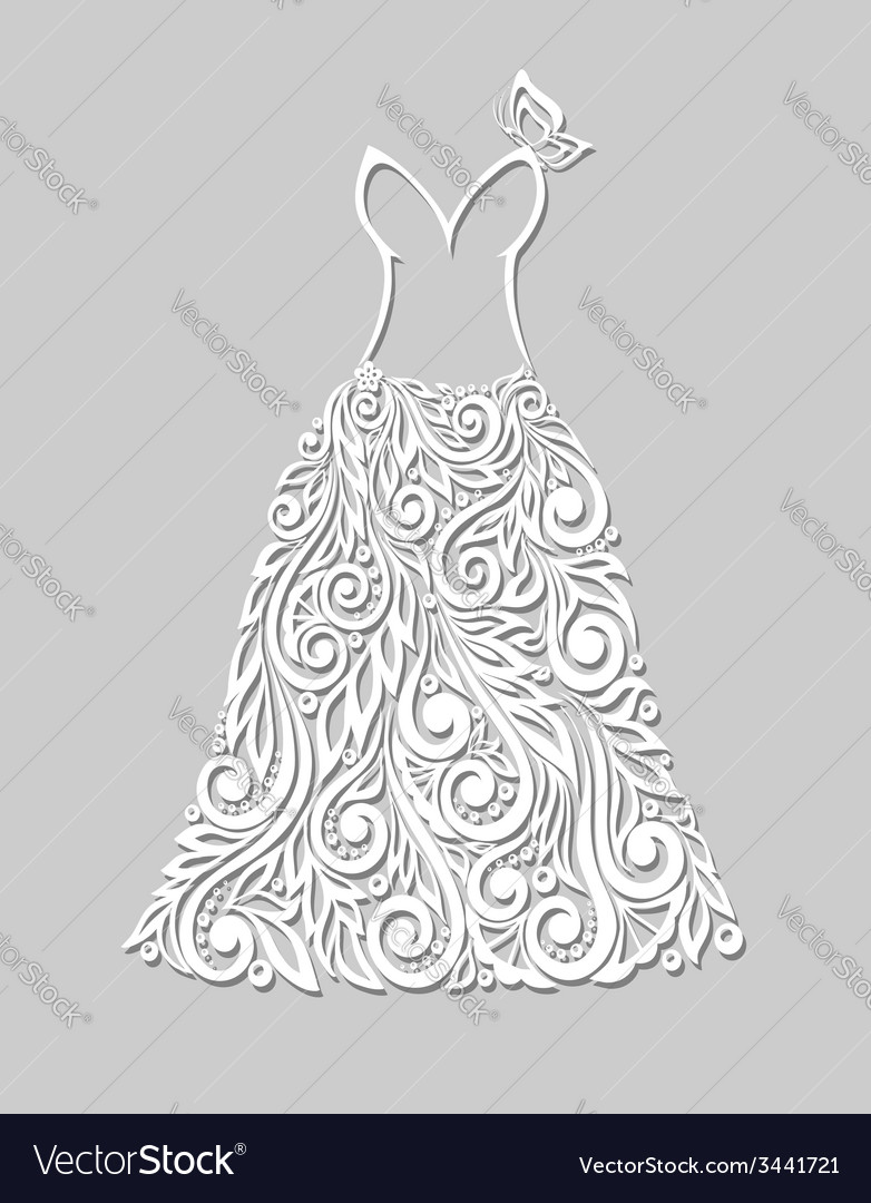 White dress with floral elements on a grey vector | Price: 1 Credit (USD $1)