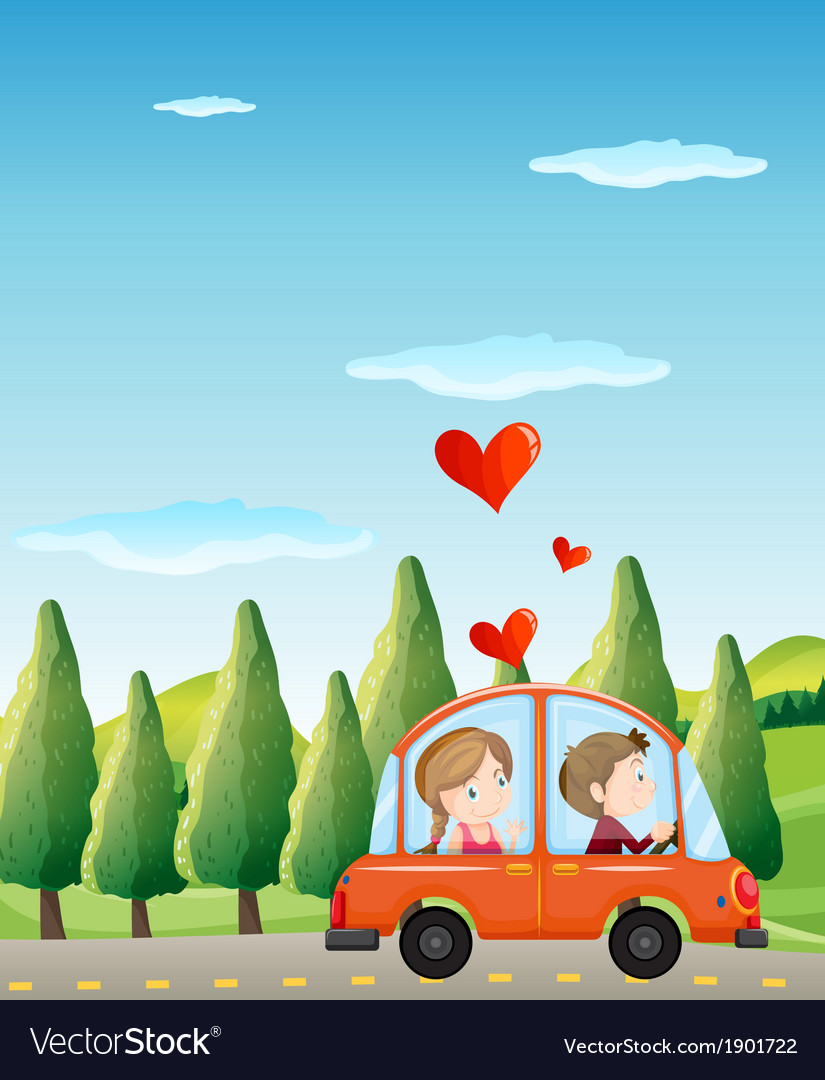 A couple riding on a car vector | Price: 3 Credit (USD $3)