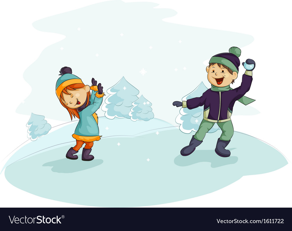 A snowball fight vector | Price: 1 Credit (USD $1)