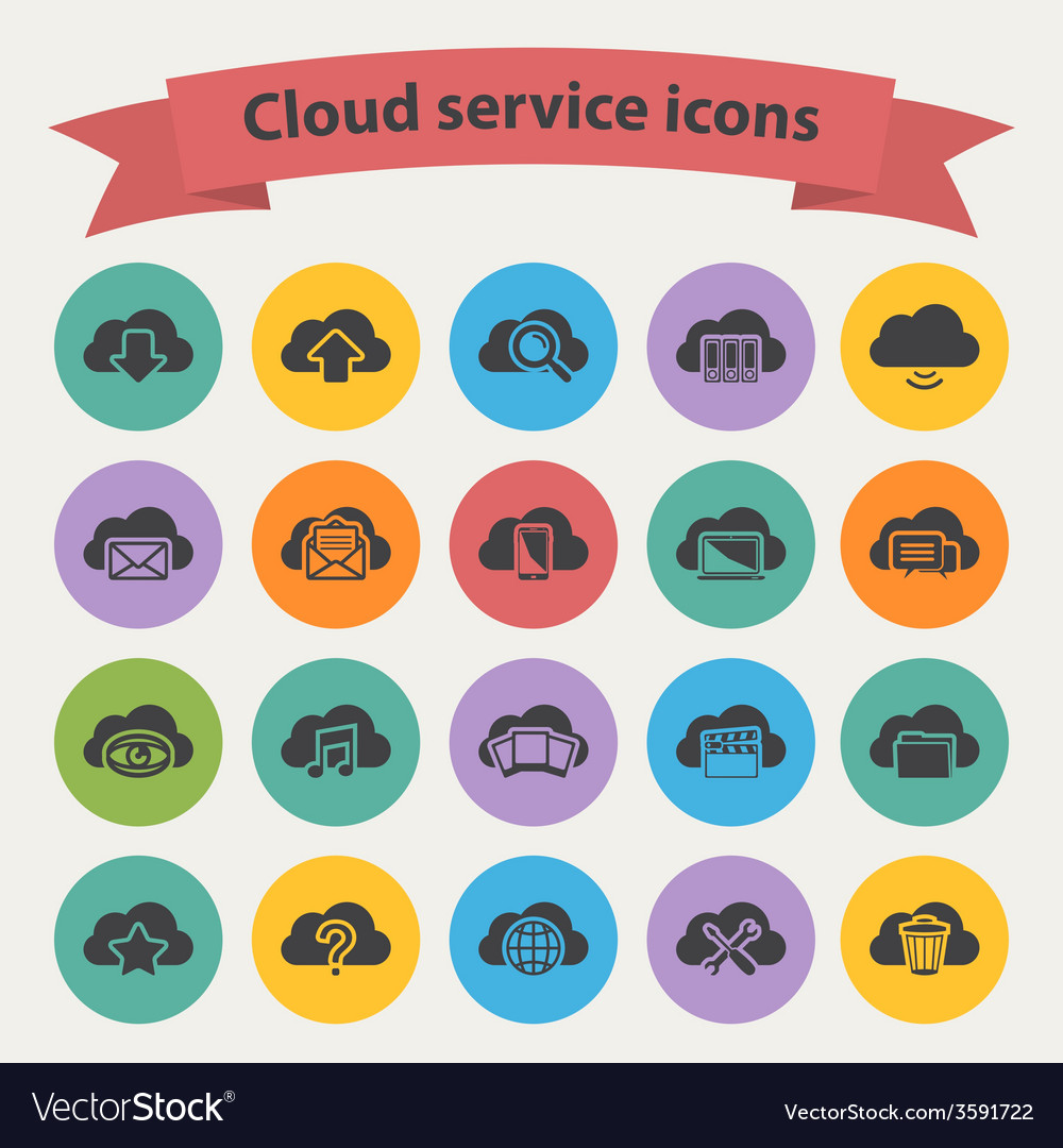 Black cloud service icons set vector | Price: 1 Credit (USD $1)