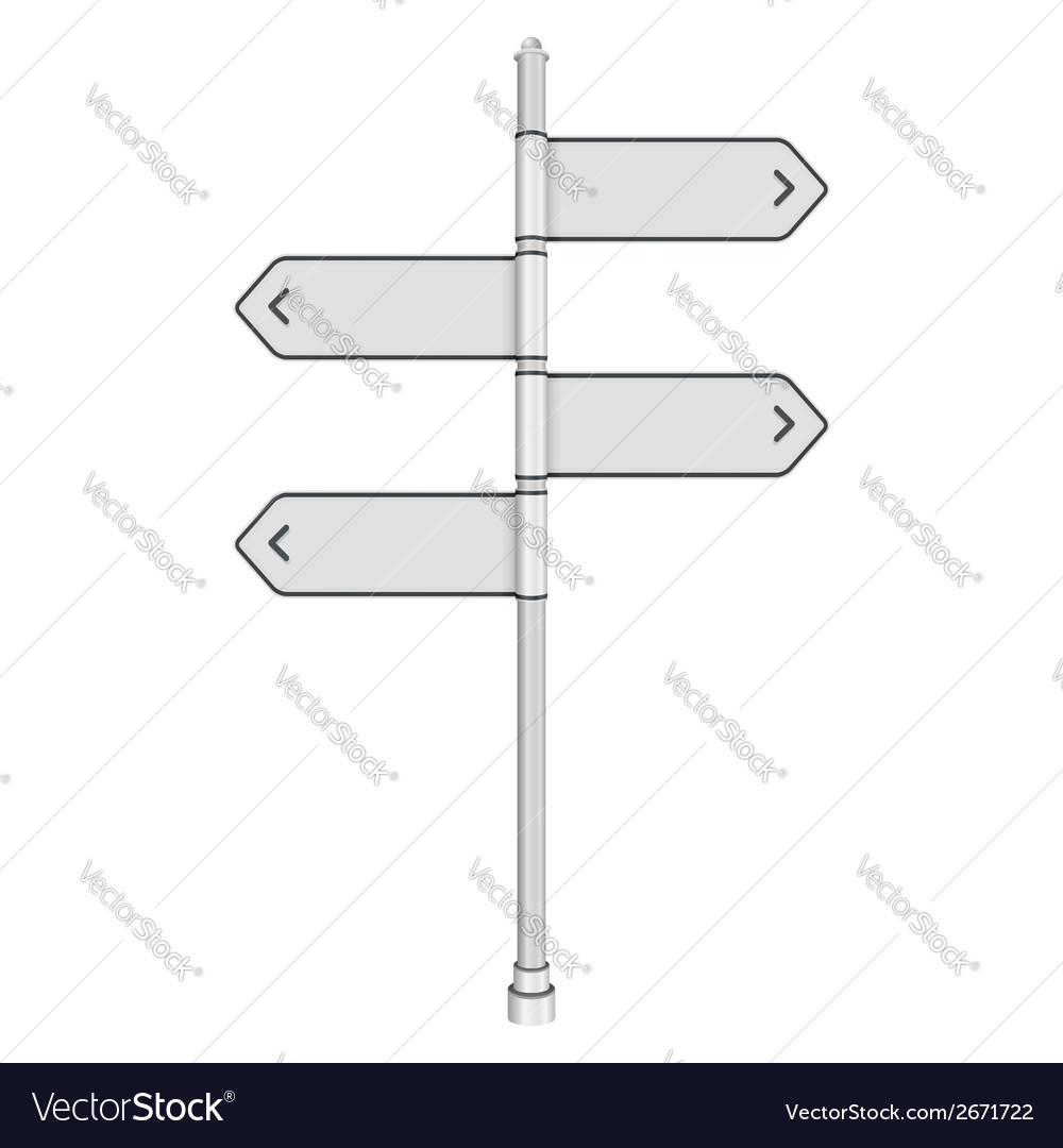 Blank white traffic road sign on white background vector | Price: 1 Credit (USD $1)