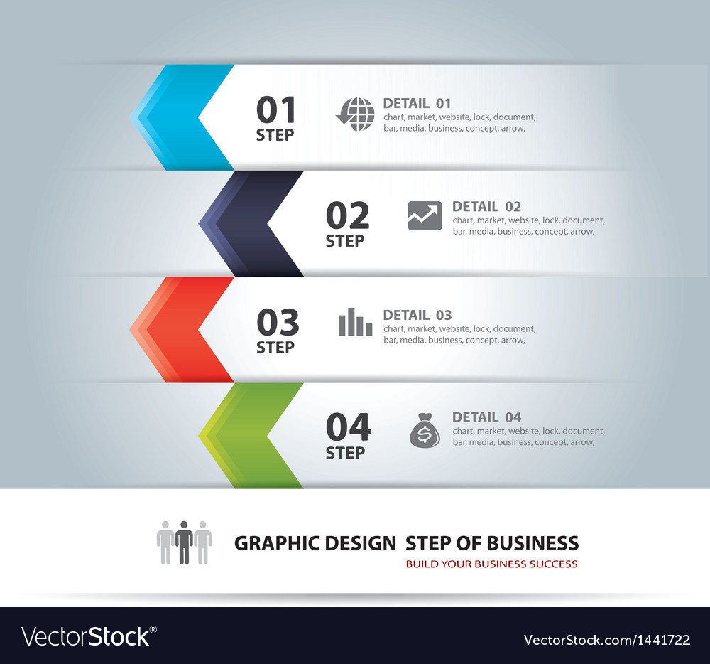 Business step paper chart and numb vector | Price: 1 Credit (USD $1)