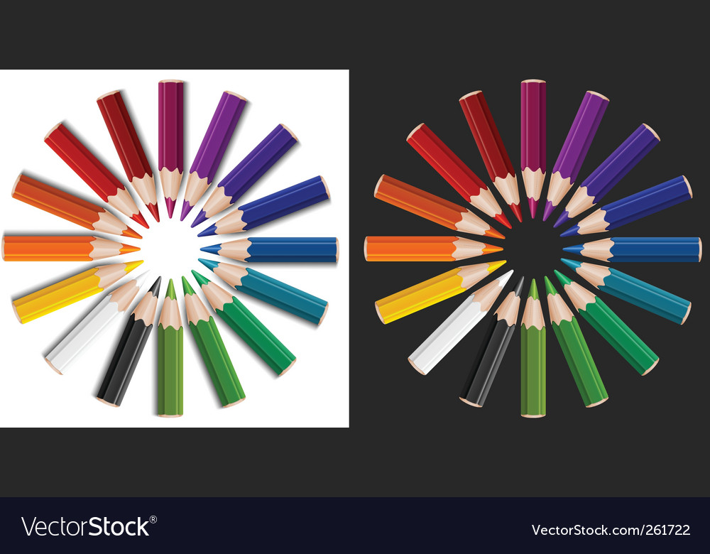 Colour pencils in circle vector | Price: 1 Credit (USD $1)