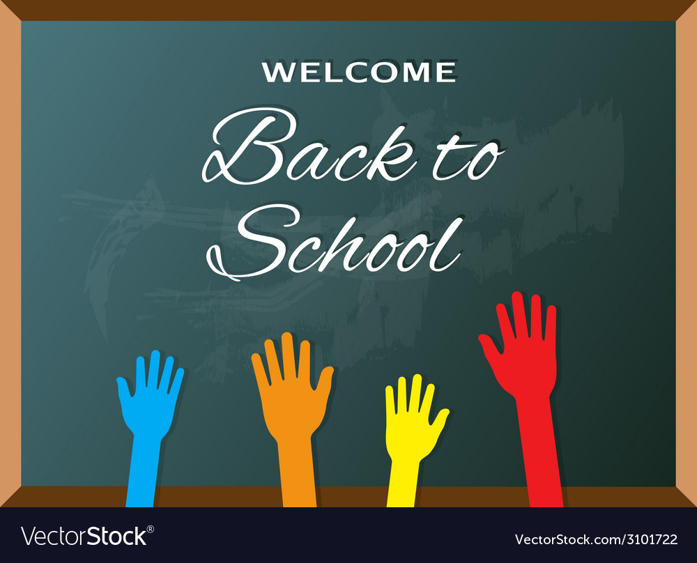 Elementary school students raising hands at board vector | Price: 1 Credit (USD $1)