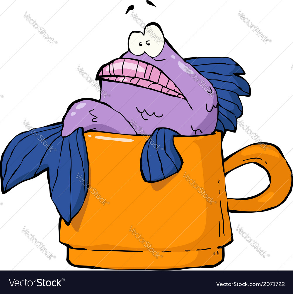 Fish in a mug vector | Price: 1 Credit (USD $1)