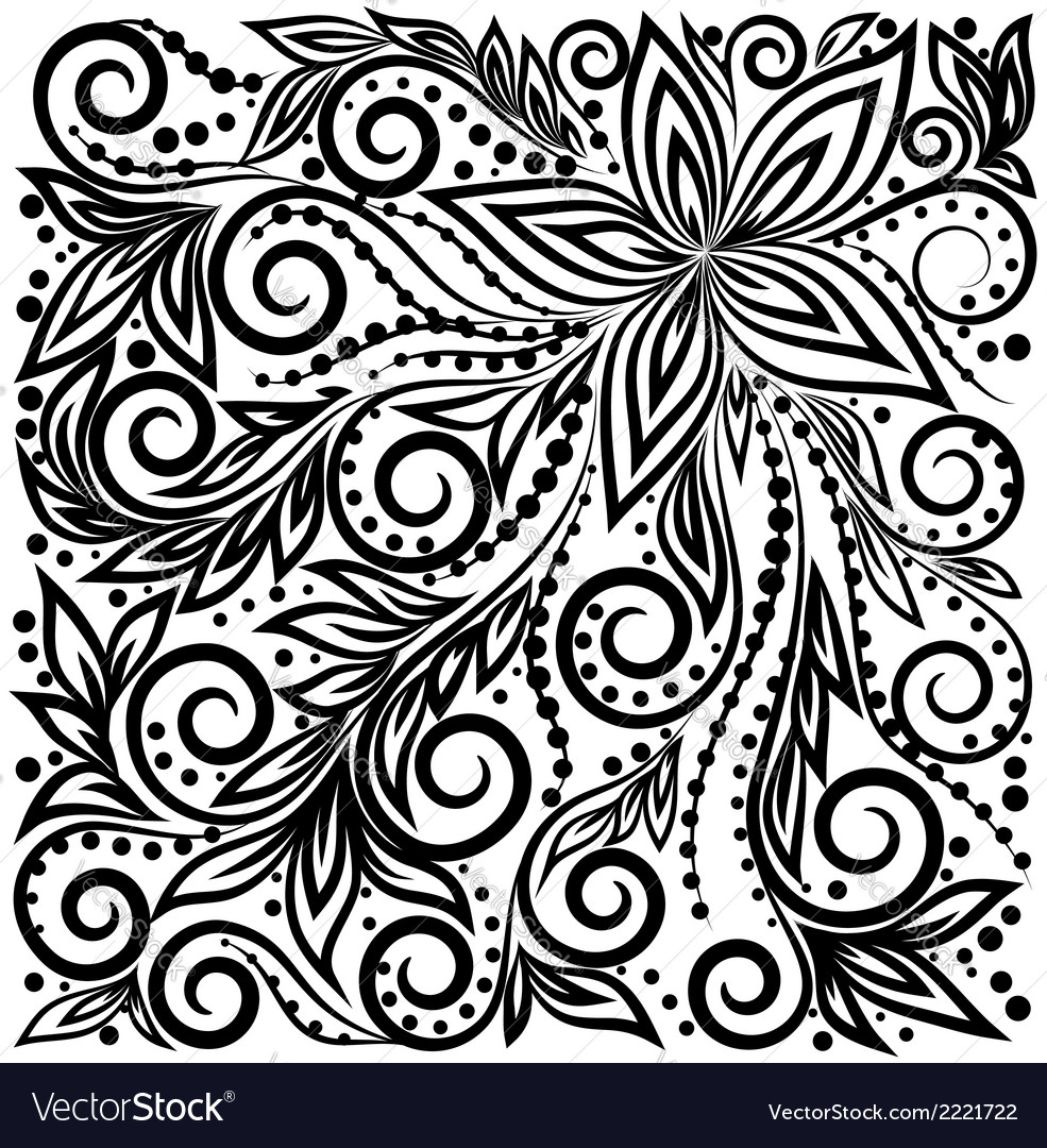 Graphic curly background with flowers and leaves vector | Price: 1 Credit (USD $1)
