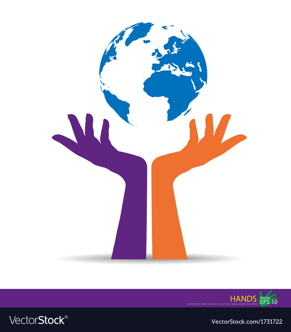Hand with globe vector | Price: 1 Credit (USD $1)