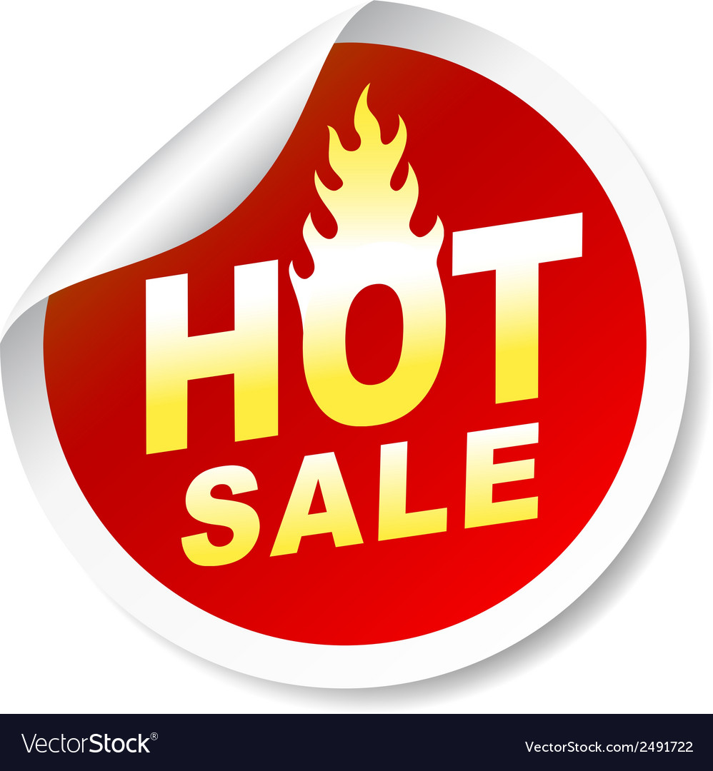 Hot sale sticker badge with flame vector | Price: 1 Credit (USD $1)