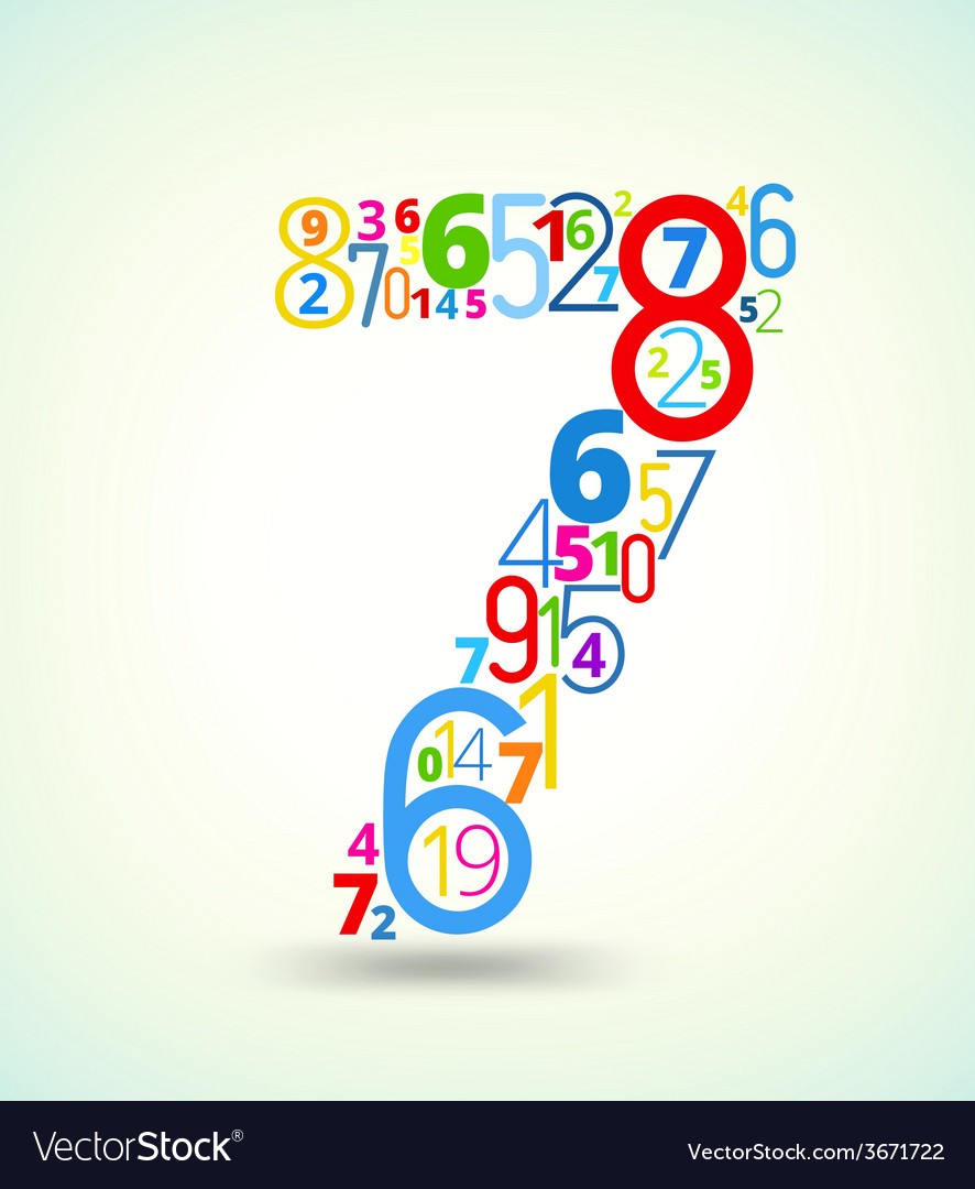 Number 7 colored font from numbers vector | Price: 1 Credit (USD $1)