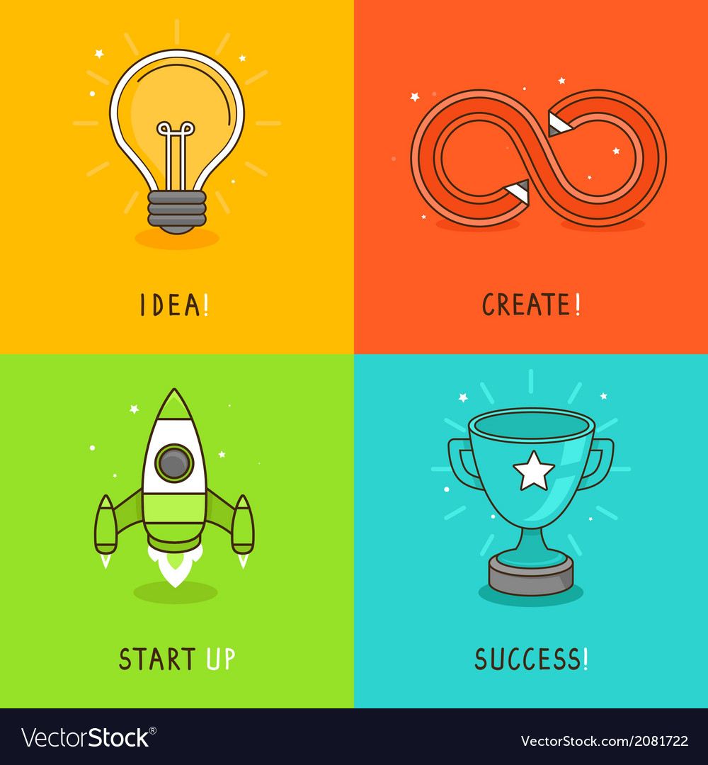 Start up concepts in bright colors vector | Price: 1 Credit (USD $1)