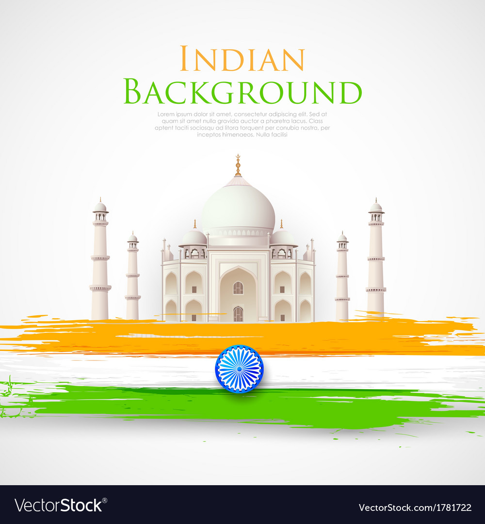 Taj mahal with tricolor india flag vector | Price: 1 Credit (USD $1)