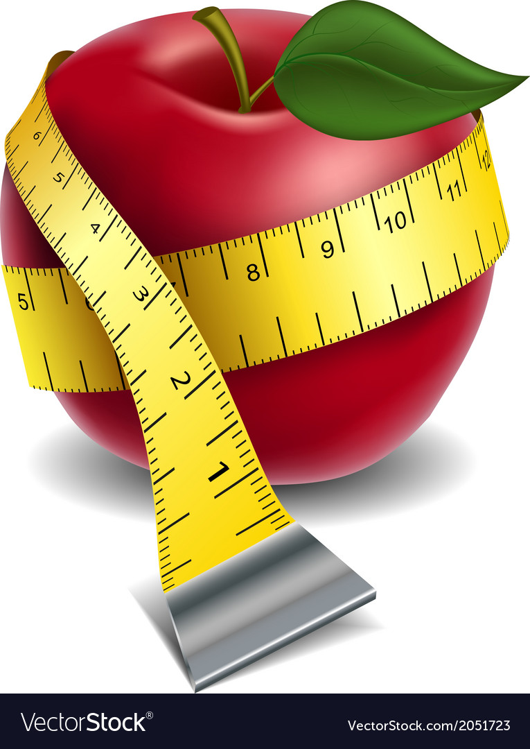 Apple with tape measure vector | Price: 1 Credit (USD $1)
