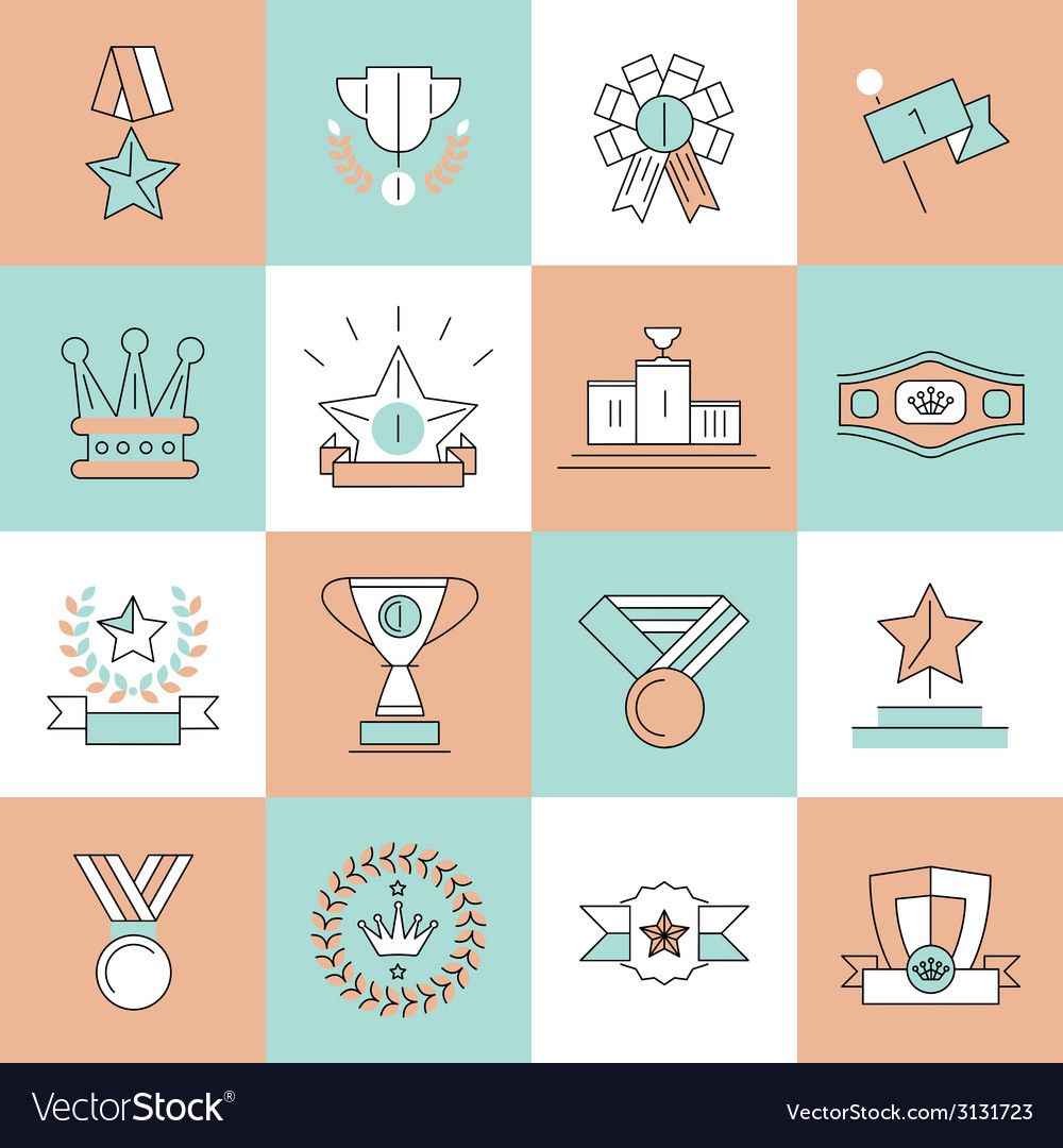 Award icons set flat line vector | Price: 1 Credit (USD $1)