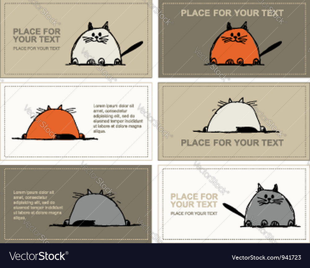 Business cards with cats sketch for your design vector | Price: 1 Credit (USD $1)