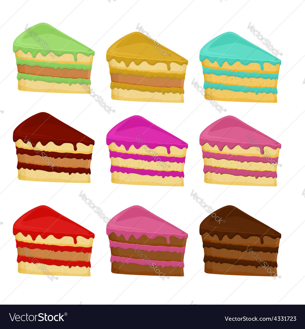 Cartoon set cake slices vector | Price: 1 Credit (USD $1)