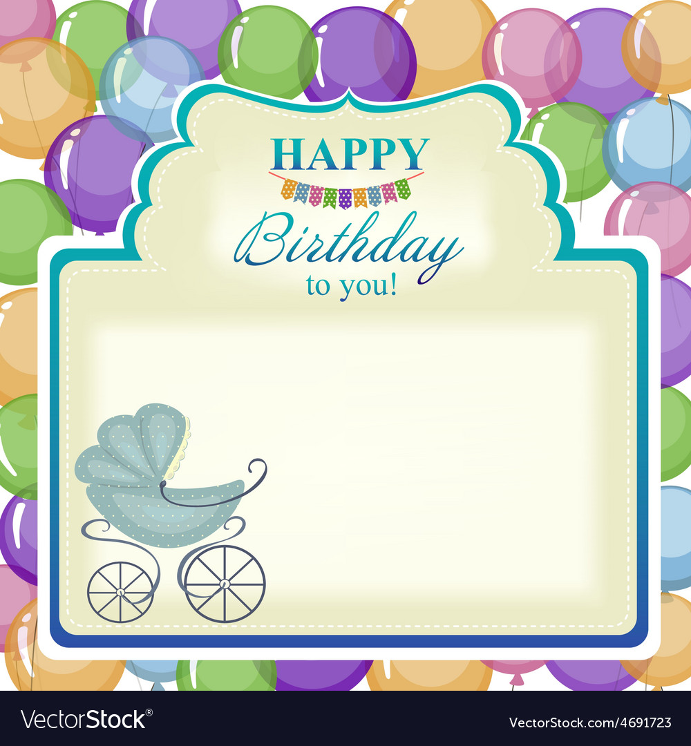 Childrens greeting background with blue stroller vector | Price: 1 Credit (USD $1)