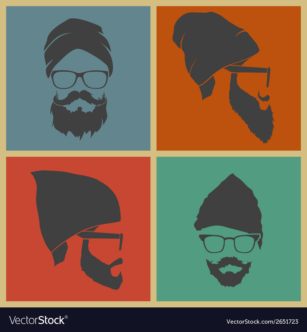 Colorful icons man in a headdress vector | Price: 1 Credit (USD $1)