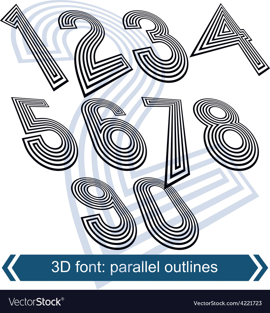 Dimensional move numbers line retro style vector | Price: 1 Credit (USD $1)