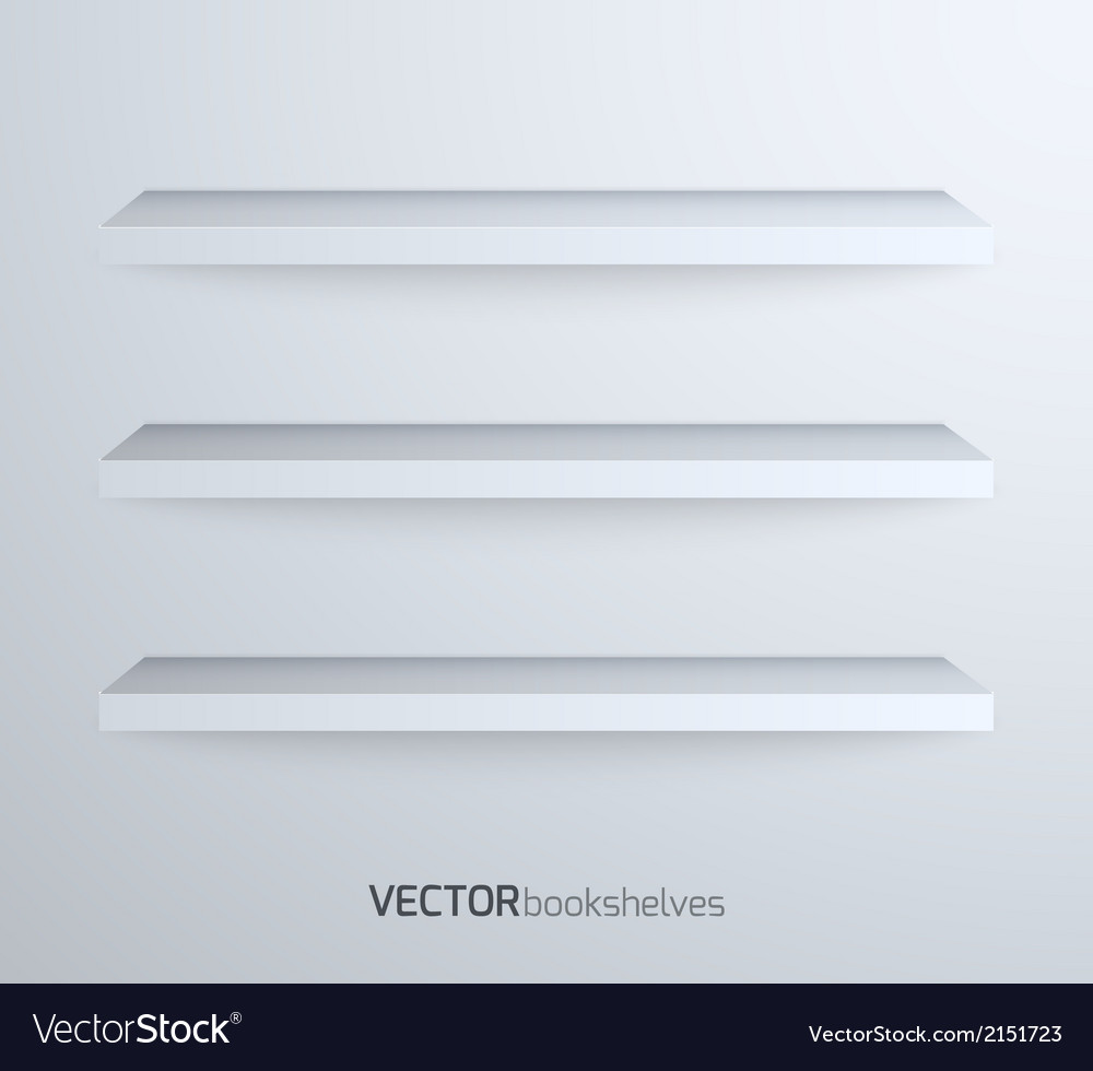 Empty book shelves vector
