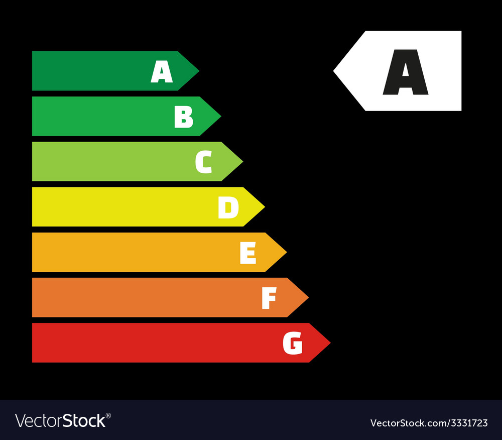 Energy labels on black background vector | Price: 1 Credit (USD $1)