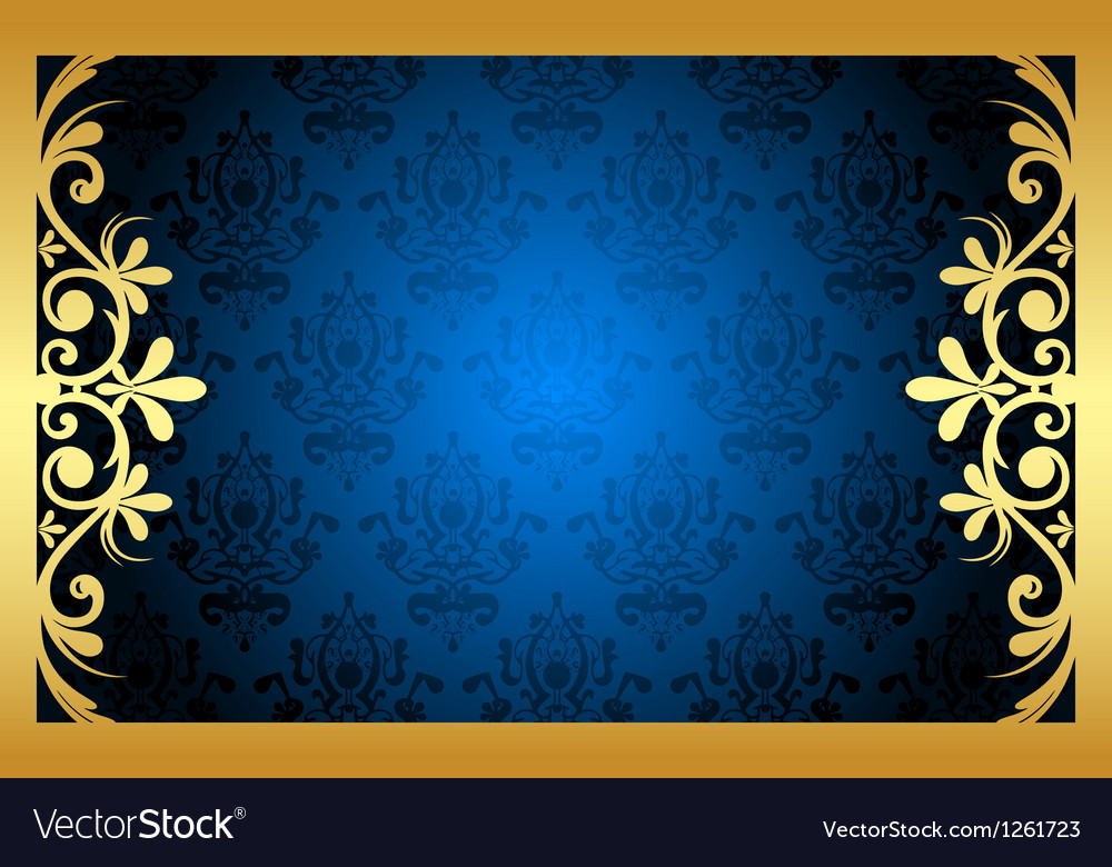 Gold and blue floral frame vector | Price: 1 Credit (USD $1)