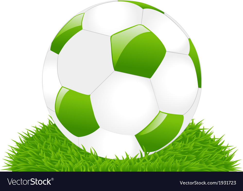 Green soccer ball on grass vector | Price: 1 Credit (USD $1)