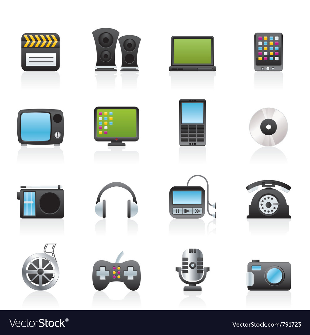 Multimedia and technology icons vector | Price: 3 Credit (USD $3)