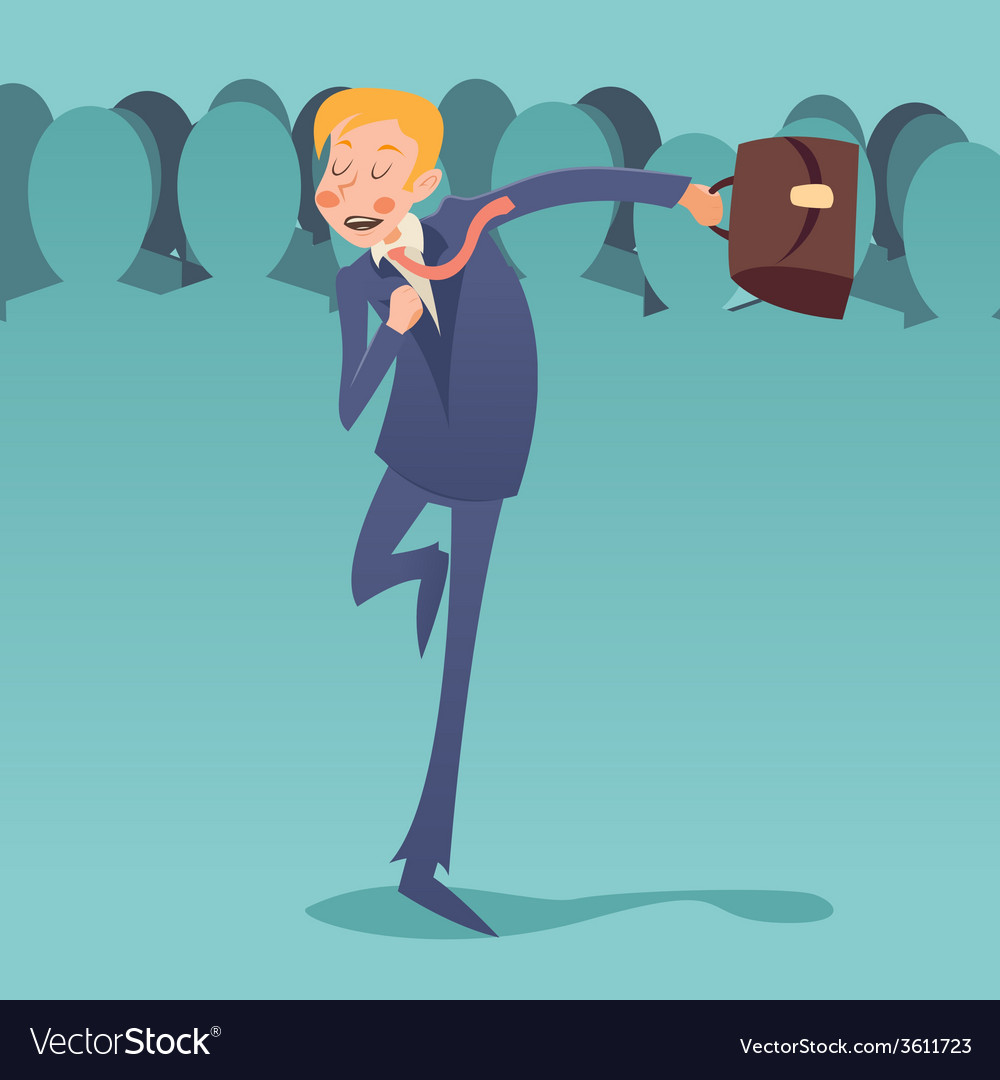 Running hurry for meeting businessman retro vector | Price: 1 Credit (USD $1)