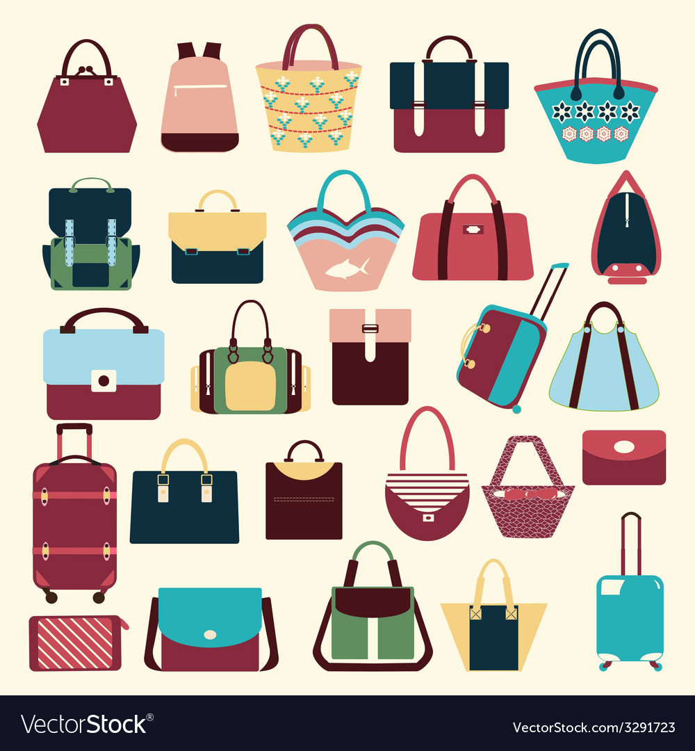 Set icons of bags and handbags - vector | Price: 1 Credit (USD $1)