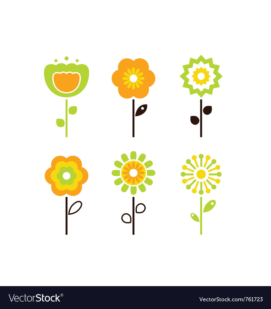 Set of retro flower elements vector | Price: 1 Credit (USD $1)