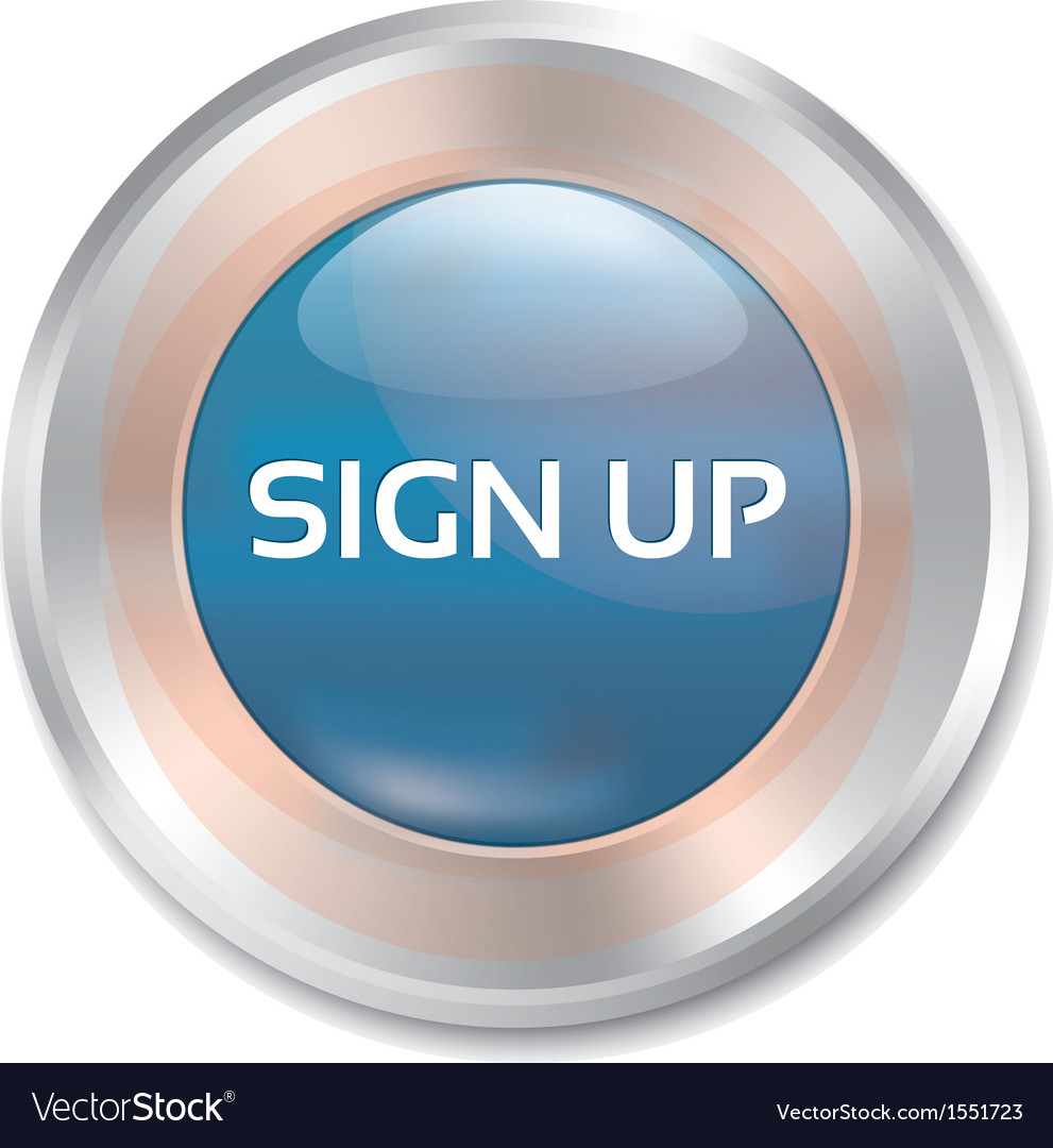 Sign up glossy blue button round sticker vector | Price: 1 Credit (USD $1)